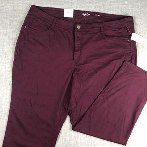 Style & Co Cranberry High Rise Slim Leg Jeans 22W